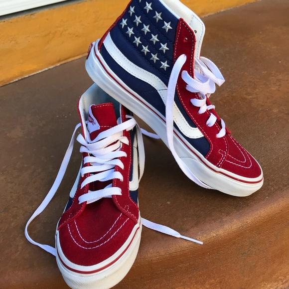 c9901f17fd Skate hi vans rare studded stars red white & blue